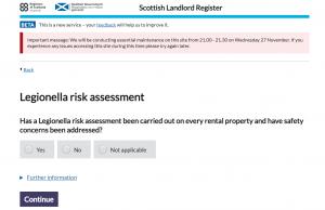 Legionella Risk Assessment Scottish Landlord Register